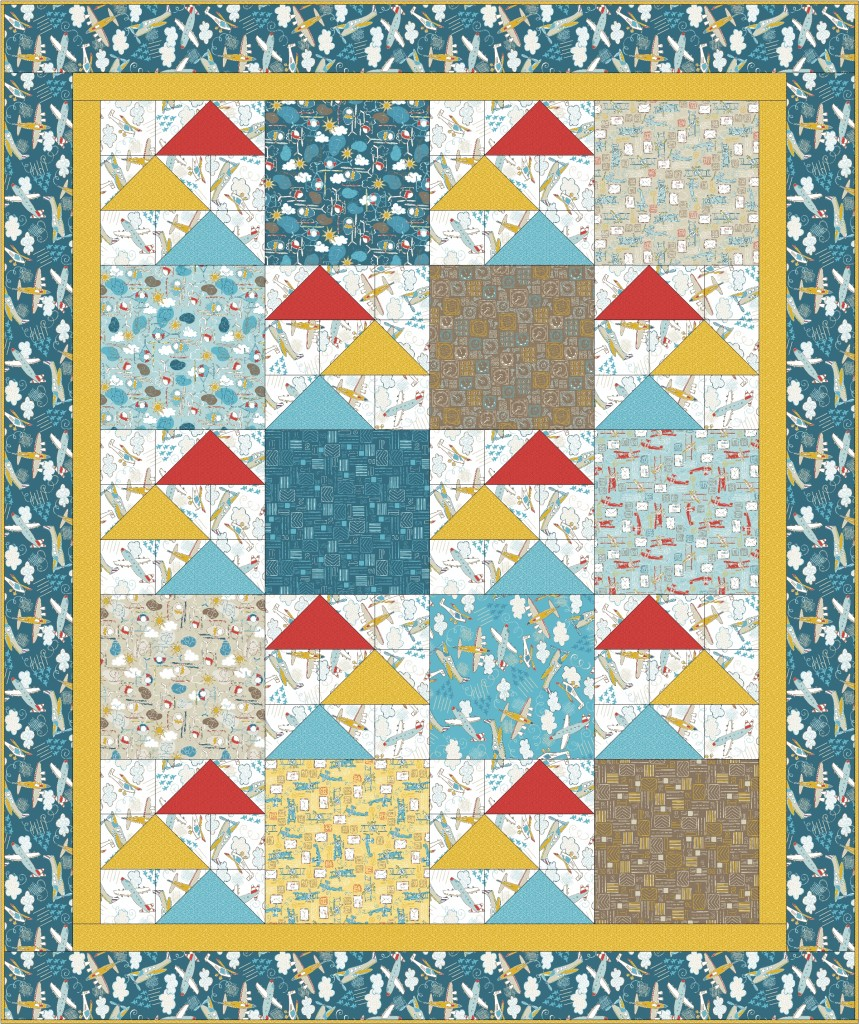 Free Quilt Pattern | Flying High by Swirly Girls Design for Camelot Fabrics | Take Flight by Vita Mechachonis