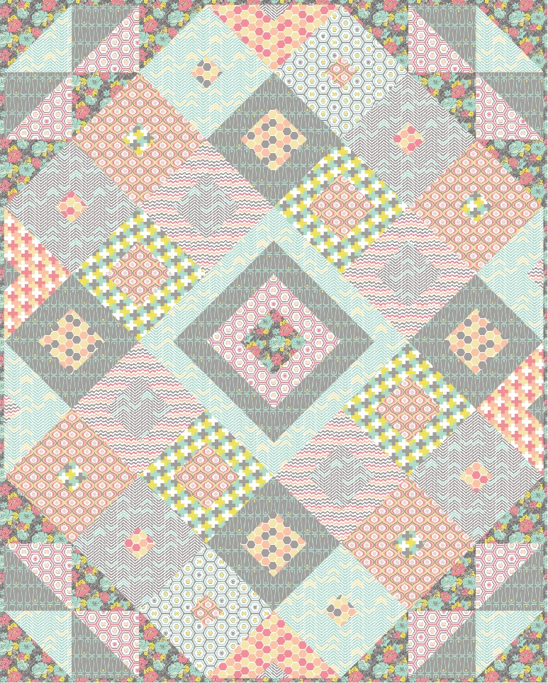 Tumbling Jewels Quilt by The Cloth Parcel for Camelot Fabrics | Penelope Collection